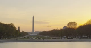 cinematic view of Washington monument at sunset, Washington DC