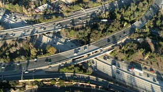 Circling Aerial Freeway Traffic