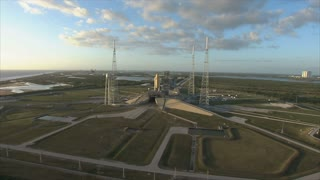 Circling around aerial view of launch pad