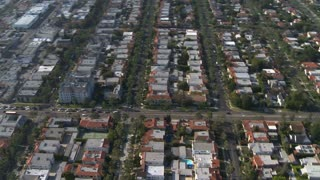 Circling Buildings In LA Aerial