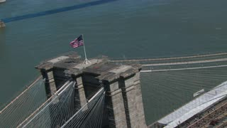 Circling Flag on Brooklyn Bridge