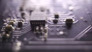 Circuit board extreme close up dolly shot