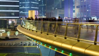 Circular pedestrian walkway above a traffic roundabout, Century Avenue, Pudong, Shanghai, China, Asia, T/Lapse