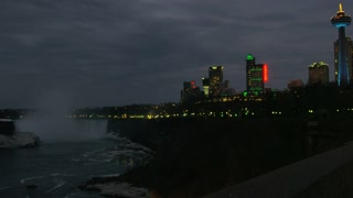 City at Night Pan to Niagara Falls