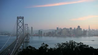 City skyline and Bay Bridge from Treasure Island, San Francisco, California, USA