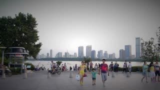 City Skyline and Pedestrians in Nanjing