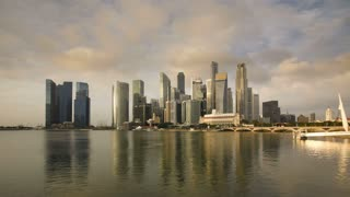 City Skyline, View across Marina Bay to the Financial and Business district of Singapore, South East Asia, Time lapse