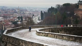Cityscape of Bergamo in snowy day