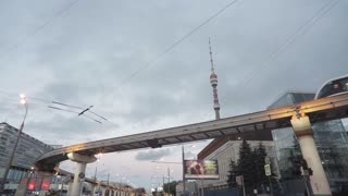 Cityscape with monorail train and TV tower Ostankino, Moscow, Russia