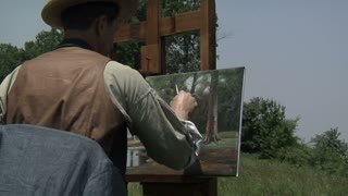 civil war ear landscape artist working outside, wider shot