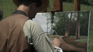 civil war ear painting with canvas, over the shoulder
