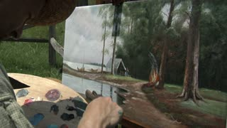 civil war era landscape painting on canvas
