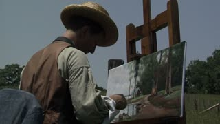 Civil War era painter painting landscape, medium shot, angled