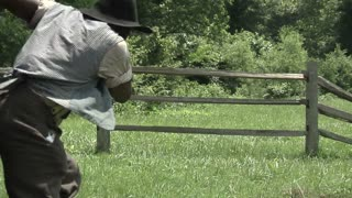 civil war era slave jumps over fence, medium