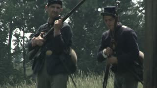 civil war union soldiers fire muskets