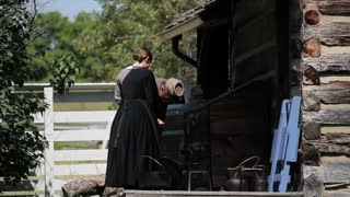 Civil War Woman Log Cabin