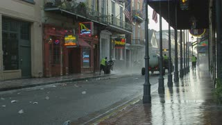 Cleaning Crew On New Orleans Bourbon Street