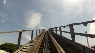 Climbing to the Top of a Classic Wooden Roller Coaster
