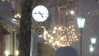 Clock And Street LIghts In Snow