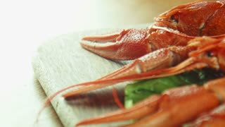 Close panoramic shot of crayfish lobsters on a tray with a green lettuce leaf