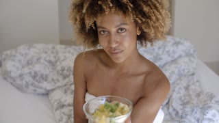 Close Up Of A Woman Enjoying A Healthy Salad
