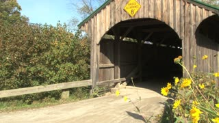 Close Up Of Covered Bridge On Country Road 2