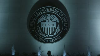 Close up of Federal Reserve Bank of Dallas at Night
