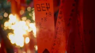 Close Up of Najing Wishing Tree Ribbons