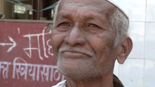 Close Up of Old Man's Face in India