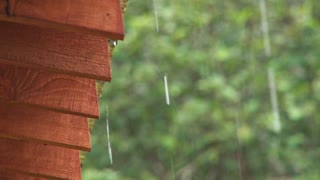 Close Up of Rain Dripping Off a Roof