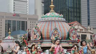 Close up of the Gopuram of the Sri Mariamman Temple in Singapore. A Dravidian style temple in Singapore's Chinatown, Singapore, South East Asia