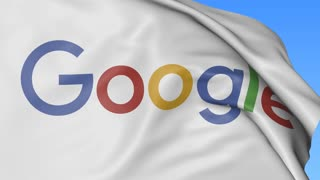 Close up of waving flag with Google logo, seamless loop, blue background. Editorial animation. 4K ProRes, alpha
