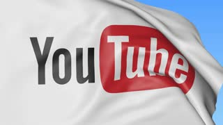 Close-up of waving flag with YouTube logo, seamless loop, blue background, editorial animation. 4K ProRes