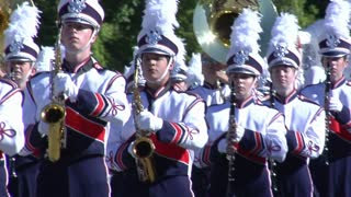 Close up on marching band in the parade