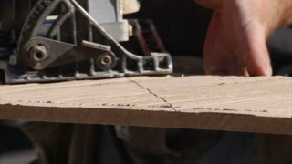 Close-up On Saw Cutting Wood