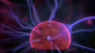 Close-up shot of plasma ball with moving energy rays making it look like multiple beams of color light extending from the centre