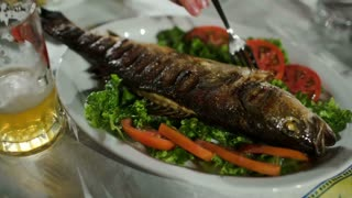 Close-up shot of pouring sauce on fried fish served with green salad and tomatoes