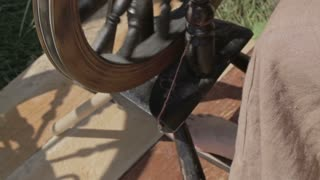 Closeup of a spinning wheel in motion