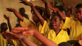 Closeup of Boys Raising Hands in Class