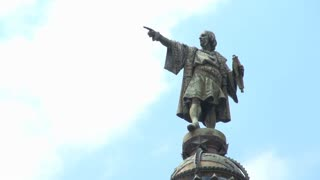 Closeup of Christopher Columbus Monument in Barcelona Spain