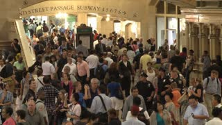 Closeup of Crowd at Grand Central Station