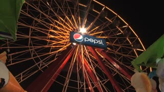 Closeup of Ferris Wheel in Ocean City Maryland at Night
