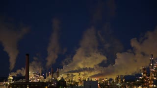 Closeup of Isolated Power Plant at Night 2