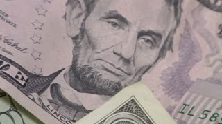 Closeup of Lincoln Five Dollar Bill
