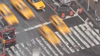 Closeup of New York City Intersection in Rain Timelapse