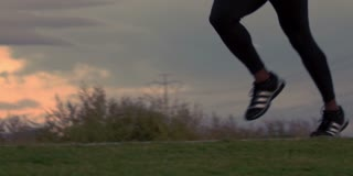 Closeup of Running Mans Feet in Slow Motion