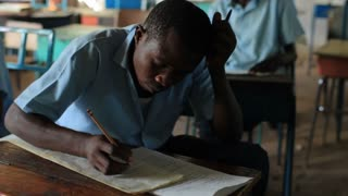 Closeup of School Boy in Class in Kenya