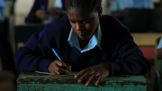 Closeup of Student Doing Classwork in Kenya