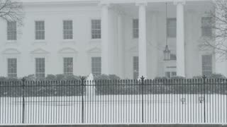 Closeup of White House in Snow