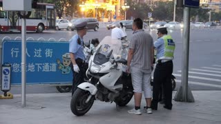 Closeup on Beijing Police Officer
